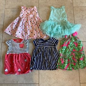 Set of 5 baby girl dresses size 12-18 months.